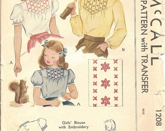1940s Sewing Patterns - 1940s Girls Blouse Pattern - Embroidery Transfer Accents - McCall 1208 - Puff Sleeves - Childs Blouse Pattern