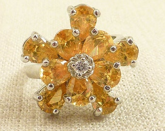 Size 10 Vintage Sterling and Orange Glass Flower Ring