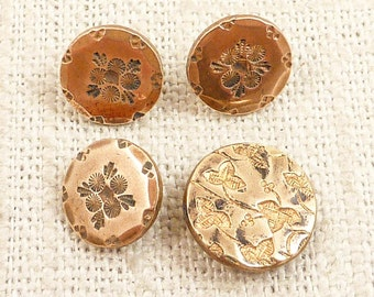 SALE --- Group of 4 Antique Victorian Brass Buttons