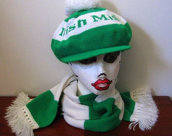 Vintage Irish Mist Green and White Hat and Scarf Set