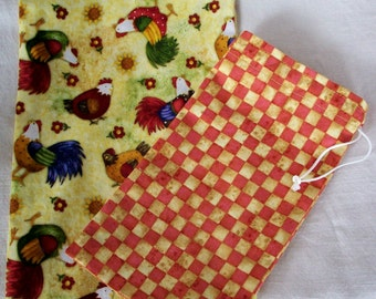 Bulk Bin Bags - Set of 2 Reusable Cotton Produce or Gift Bags