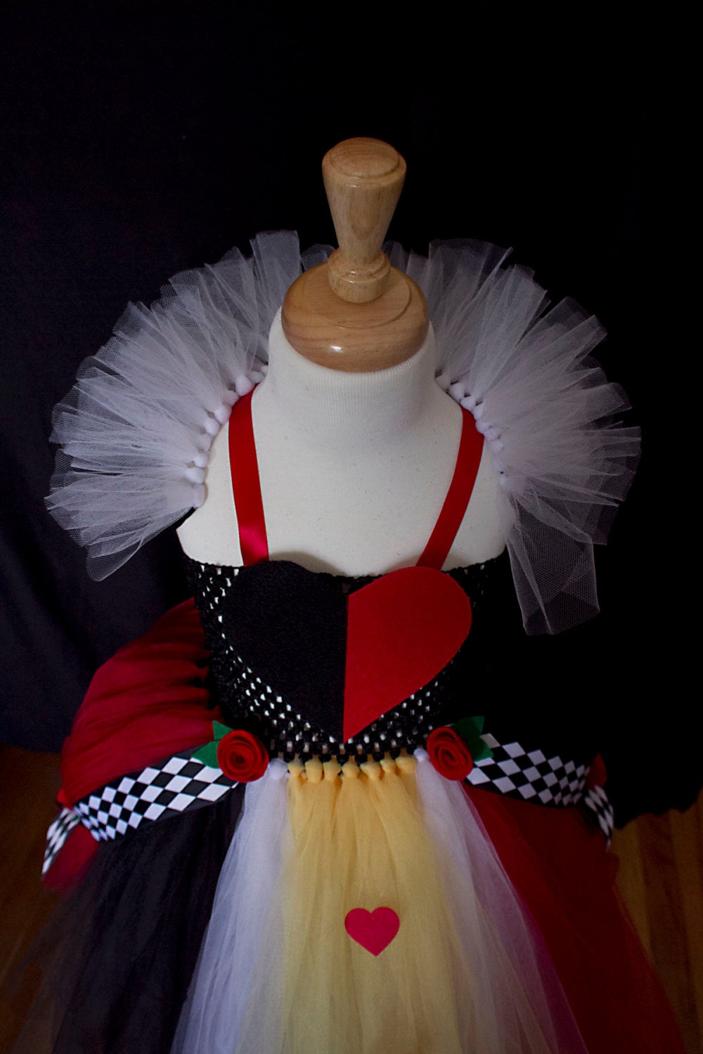 Queen of Hearts inspired tutu dress Black and Red Ball Gown