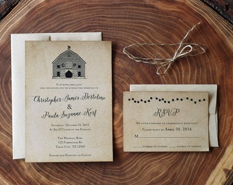 Rustic Barn Wedding Invitation Suite - Country Southern Farm Chic - Place Card - Thank You - Menu or Program