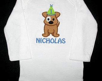 Custom Personalized Applique Birthday Hat PUPPY DOG and NAME Shirt or Bodysuit - Brown, Lime Green, and Blue