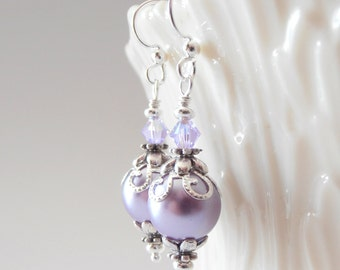 Lavender Pearl Dangle Earrings, Light Purple Bridesmaid Earrings, Bridal Party Jewelry,  Lavender Earrings, Purple Pearl Jewelry