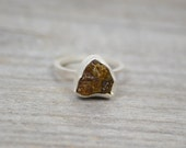 rough tourmaline ring, October birthstone, uncut raw tourmaline in army green, tourmaline engagement ring, 3.8 ct, organic shape tourmaline