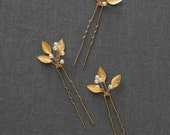 Gold Small Wedding Hair Combs | Gold Wedding Hair Accessories | Gold Leaf Bridal Hair Comb [Adele Hairpin: Gold]