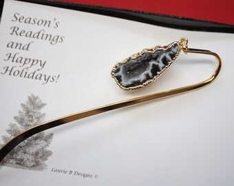Bookmark Geode, Bookmark Crystal, Egg Geode, Book Worm, Reading, Read, Book Charm, Book Mark, Christmas Card, BOOK14