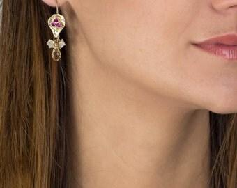 Cirtine Jewelry, Handmade Protection Earrings with Bezel Set Cubic Zircona Citrine Gemstone, November Birthstone, Citrine Earrings