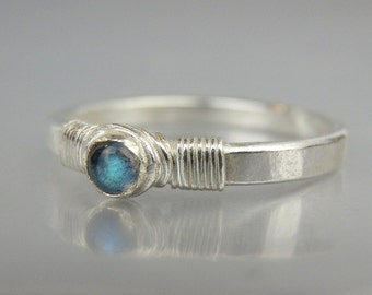 Stacking Ring, Gemstone Stacking Ring, Sterling Silver Stacking Ring, Labradorite La Petite Ring, Stacking Rings, Personalized Stacking Ring