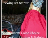 Fabric Kit-Sewing Kit-Designer Nursing Cover Starter-Pre Cut Fabric Pattern-Carry Bag-Signature Front Ruffle Style-Custom Color-Bonus Book
