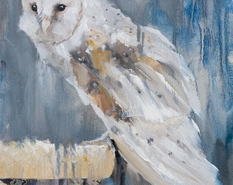 Tan and White Perched Barn Owl on Gray Blue Drippy  Background - Signed Original Fine Art Print by Clair Hartmann