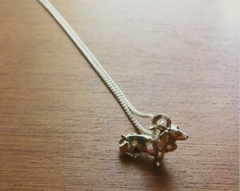 Dachshund Wiener Dog .999 Fine Sterling Silver Plated Charm Necklace. Nickel Free Jewelry.