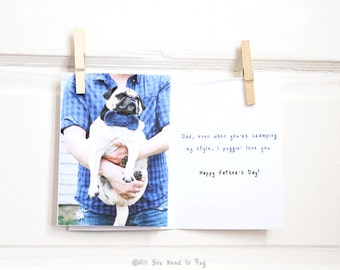 Stylish Pug Father's Day Card - Funny Father's Day Card - Dad Card - Pug Card - Dog Dad Gift - Father's Day Gift - Pet Dad Gift