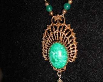"""1940's, 18"""" long, marbled green glass pendant and drop"""