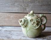 Stoneware Teapot with peas and flowers  - Stoneware teapot