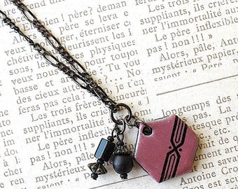 Stripe & Dot Necklace. Red. Cranberry. Crimson. Rose. Ruby. Wine. Black Porcelain. Pendant. Jet. Black Glass Beads. Gunmetal Chain. Hexagon