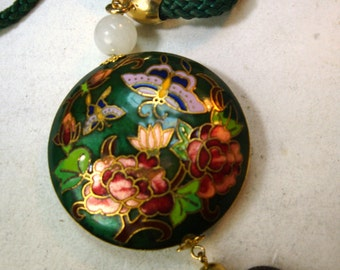 Cloisonne Butterfly Pendant on Green Cord,1980s, Maroon Pink Green Black Gold  Enameled Lepidoptera On Flowers, Double Sided Round Necklace