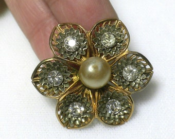 Vintage Filigree Flower Rhinestone and Faux Pearl Brooch Gold Tone Pin