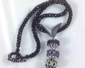 Black, Silver and Purple Beaded Bead Pendant Necklace... EBW Team