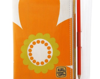 A6 Journal - Yellow seventies flower power vintage fabric