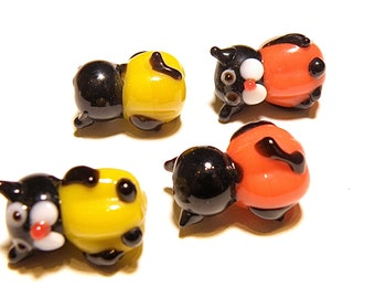 DESTASH -- Four (4) Black Cats in Yellow and Orange Pumpkins Lampwork Glass Beads