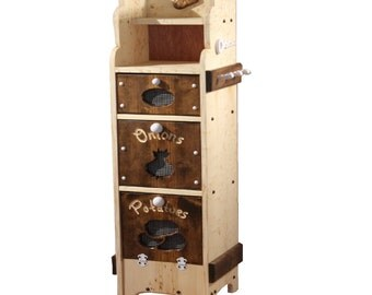 Kitchen Storage, Potato and Onion Bin with Shelves for adult kitchen. Solid Wood - Introductory Price