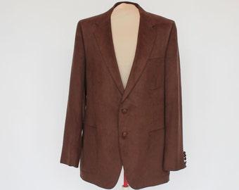 70's Brown Suede Sport Coat / Suede Cloth Jacket / Size 42L / 42 Long