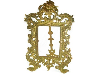 Antique Mantle Frame Victorian Cherub Heavy brass Fancy Portrait easel Family photo 12 x 7 1/2 LARGE vanity accessory 1900's