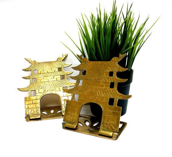 Brass Pagoda Bookends Hong Kong 1960s Vintage Asian Home Decor