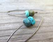 turquoise earrings. niobium earings. December birthstone jewelry.