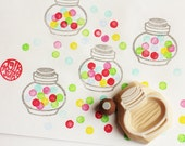 bubble gum jar stamp set. candy glass container hand carved rubber stamps. sweets stamp. diy birthday christmas scrapbooking. set of 2