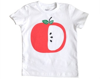 Kid's Tee Shirt, Apple Tee, Kids Big Apple Tee Shirt, Red Apple Kids Shirt