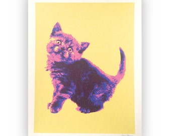 Cat Screenprint Poster, Pop Art Cat Print, Wall Art, Colorful Cat Silkscreen Print, Pink and Purple Kitten Print, Cat Art