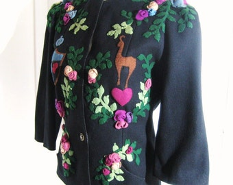 30s 40s Vintage Jacket Black Wool Felt, Fitted Nipped Waist, Hand Sewn Multi Color Dimensional Appliques, WWII Couture Worthy, Bust 34