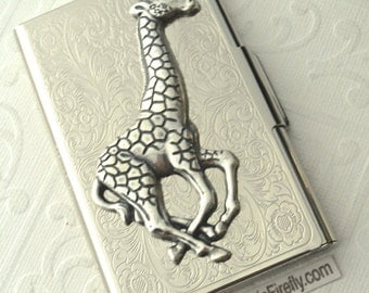 Silver Giraffe Business Card Case Victorian Steampunk Card Holder Silver Plated Victorian Scroll Jungle Animal Card Case Silver Card Case