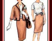 Vintage 1960's-Iconic JACKI-O Style-Classy Three Piece Suit -Sewing Pattern-Lined Box Jacket-Side Tie Blouse-Pencil Skirt- Size 18 Rare