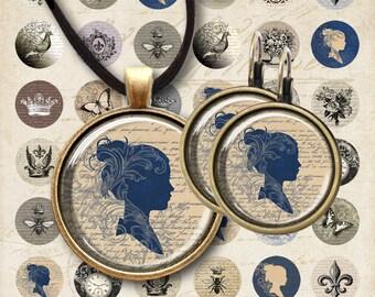 16mm and 20mm size Images EPHEMERA CIRCLES Printable download Digital Collage Sheet for pendants, earrings bezel settings bracelets ArtCult