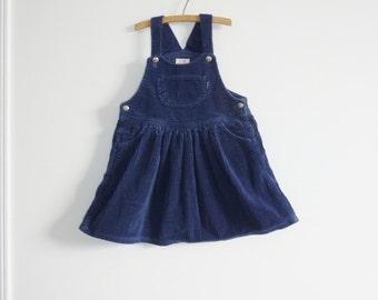 Vintage Navy Corduroy Girls Dress