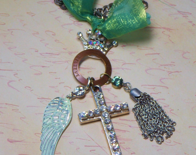 Cross Charm Necklace Rhinestone Crown Believe Mixed Metal Chain Tassel Necklace Distressed Boho Patina Wing Bohemian Necklace Nicki Lynn