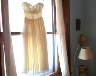 vintage 1950s Dress  // Wedding Gown // strapless wedding dress