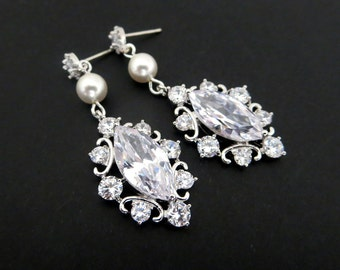 Crystal Wedding earrings, Pearl Bridal earrings, Bridal jewelry, Rhinestone earrings, wedding jewelry, Bridesmaid earrings, Vintage ELLA