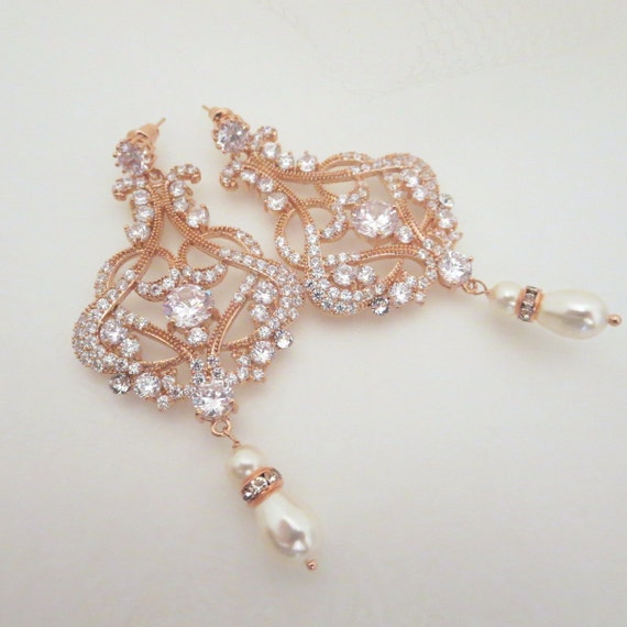 Rose Gold Chandelier earrings Rose Gold Bridal by treasures570