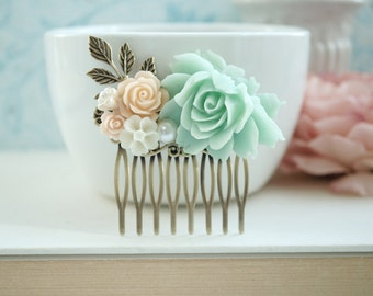 Mint Green Comb Peach Flower Hair Comb Bridal Rose Hair Comb Bridal Hair Comb Mint Wedding Hair Accessory Bridesmaid Gift Romantic Hairpiece