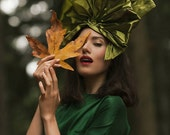 Olive Green Silk 1940s Fan Hat
