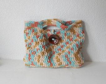 Large Crochet Handbag Tote in Beach, OOAK, ready to ship.