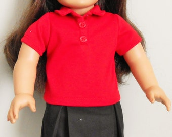 Black uniform skirt with red knit polo shirt fits American Girl