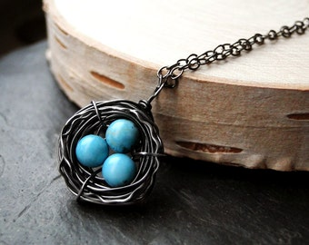 Bird's Nest Necklace, Turquoise, Oxidized Sterling Silver - Robin's Home by CircesHouse on Etsy