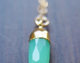 SALE Chrysoprase Point Gold Necklace, Layering