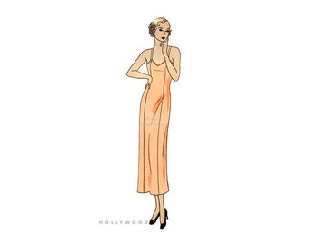 1930s Womens Slip Pattern Hollywood 702, Bust 36 Hip 39, Camisole Top, Wide or Spaghetti Straps,  30s Vintage Lingerie Sewing Pattern